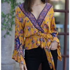 NWT blouse peplum bell sleeves yellow romantic